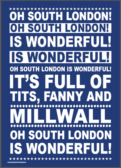 Millwall Football Poster from Terrace Banter